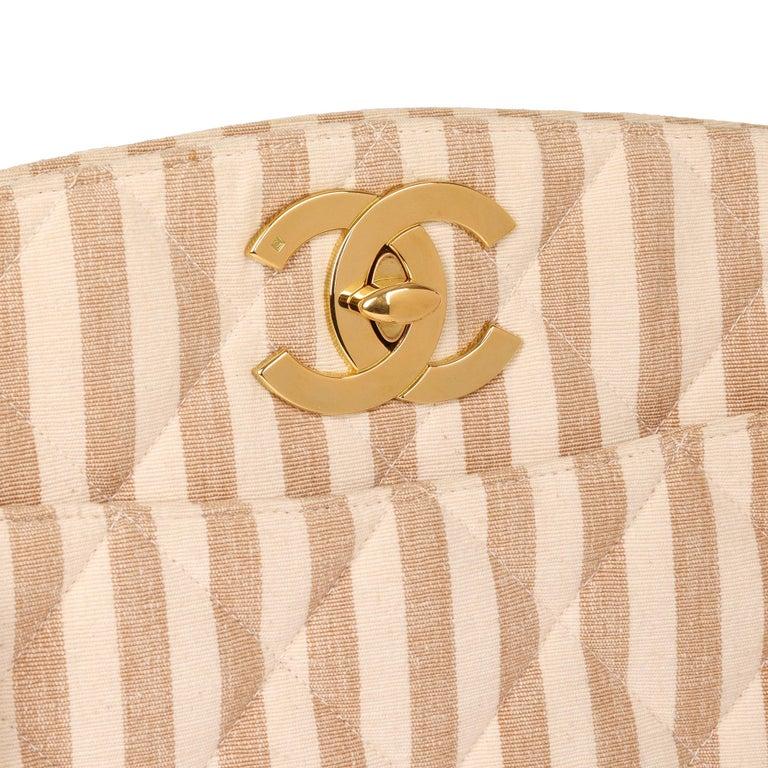 Chanel Beige & Brown Quilted Striped Linen Vintage XL Timeless Shoulder Bag For Sale 2
