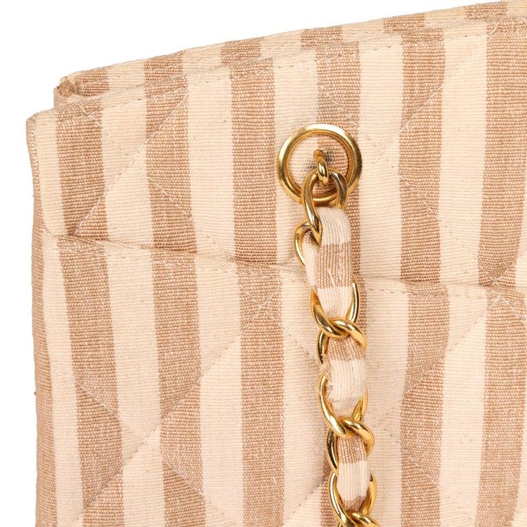 Chanel Beige & Brown Quilted Striped Linen Vintage XL Timeless Shoulder Bag For Sale 3