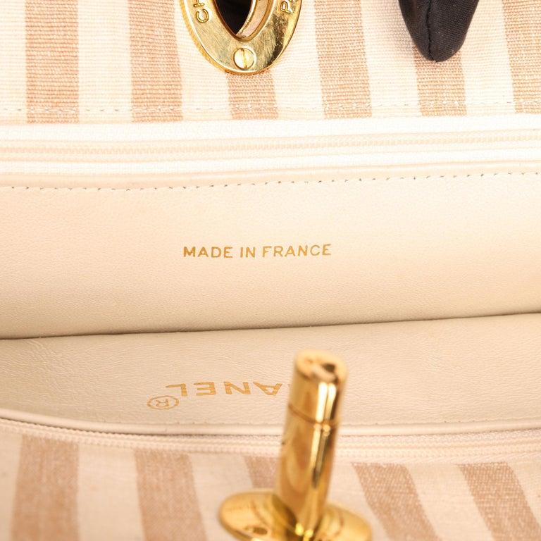 Chanel Beige & Brown Quilted Striped Linen Vintage XL Timeless Shoulder Bag For Sale 4