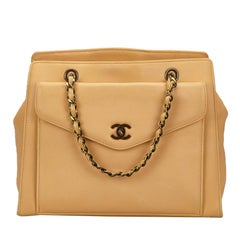 Chanel Beige Calf Leather Chain Handbag