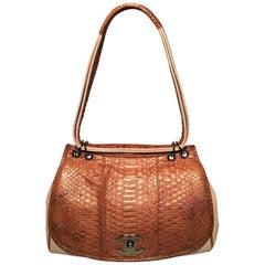 Chanel Beige Canvas and Tan Copper Snakeskin Flap Shoulder Bag