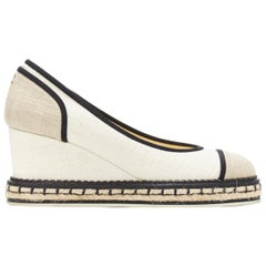 CHANEL beige canvas toe cap leather bordered jute sole platform wedge EU37
