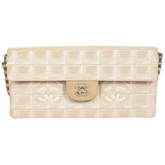 Chanel Beige Canvas Travel East West Flap Bag