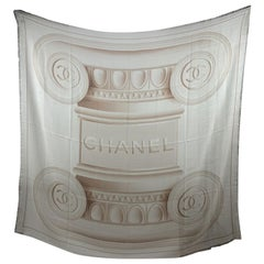 Chanel Beige Cashmere Greek Column Shawl Large Scarf
