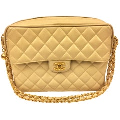Chanel Beige Caviar Double Chain Handbag