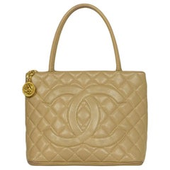 Chanel Beige Caviar Leather CC Medallion Tote Bag