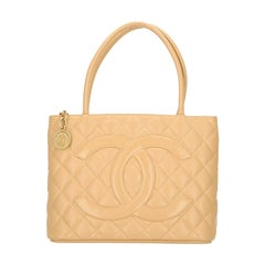 Chanel  Beige Caviar Leather Quilted Medallion  Shoulder Bag