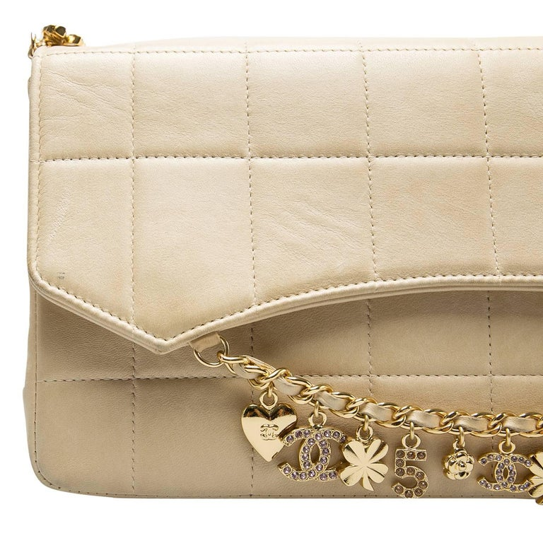 Chanel Beige Chocolate Bar Leather Lucky Charms Chain Bag For Sale 6