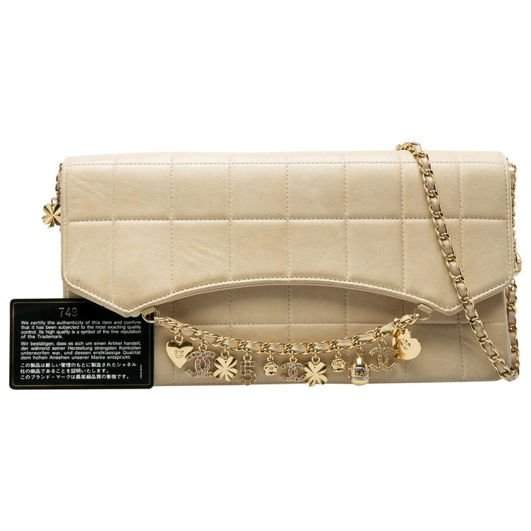 Chanel Beige Chocolate Bar Leather Lucky Charms Chain Bag For Sale 9