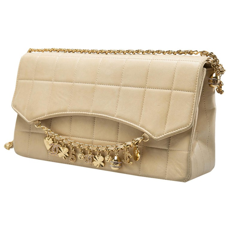 Women's Chanel Beige Chocolate Bar Leather Lucky Charms Chain Bag For Sale