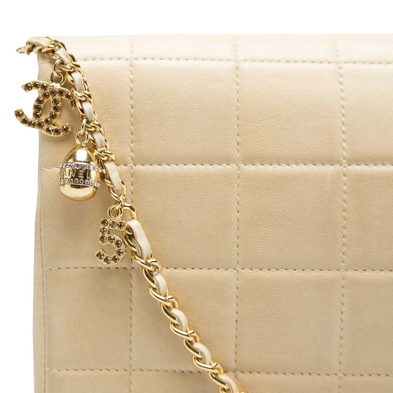Chanel Beige Chocolate Bar Leather Lucky Charms Chain Bag For Sale 5