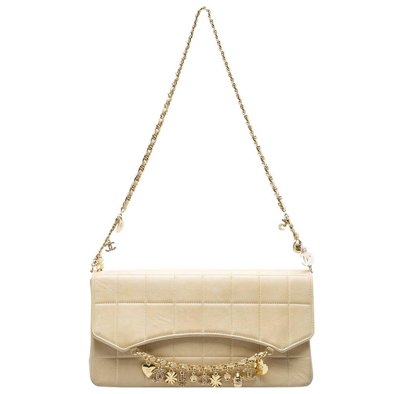 Chanel Beige Chocolate Bar Leather Lucky Charms Chain Bag For Sale