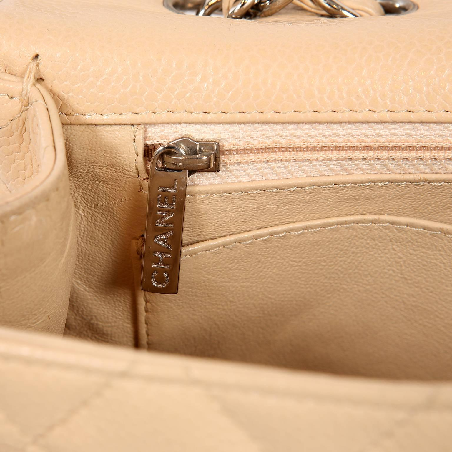 b72cf0669c2c Chanel Beige Clair Caviar Leather Jumbo Classic Flap Bag with Silver HW at  1stdibs