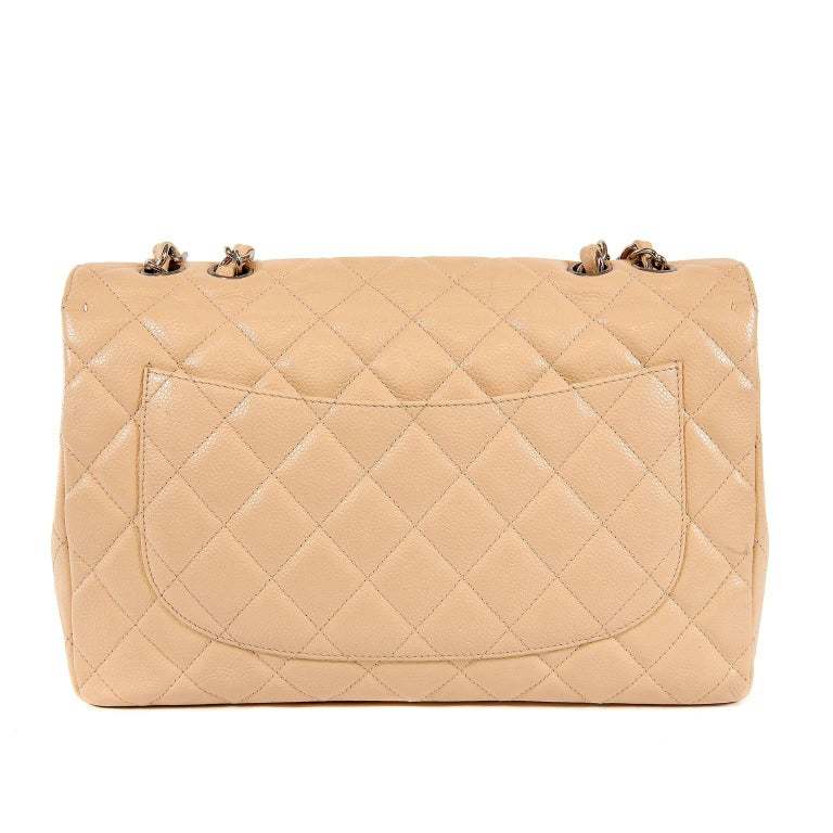 ce99823dceb7 ... Silver HW For Sale. Chanel Beige Clair Caviar Jumbo Classic Flap Bag-  Excellent PLUS Rarely seen in the single