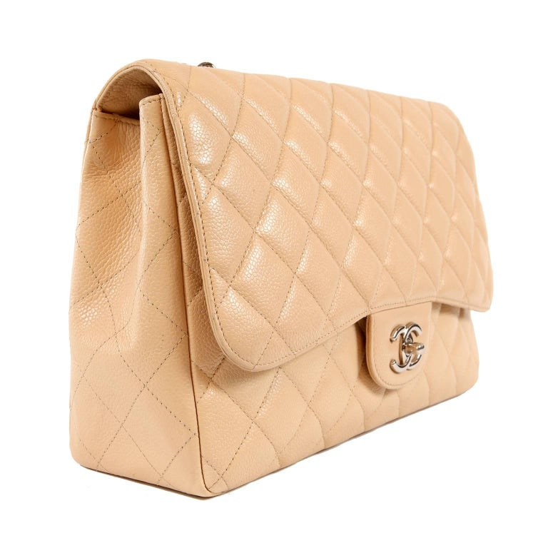 13d2985958b1 Chanel Beige Clair Caviar Leather Jumbo Classic Flap Bag with Silver HW In  Excellent Condition For