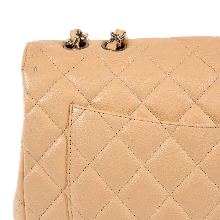 3270b764ccbd Chanel Beige Clair Caviar Leather Jumbo Classic Flap Bag with Silver HW For  Sale 2