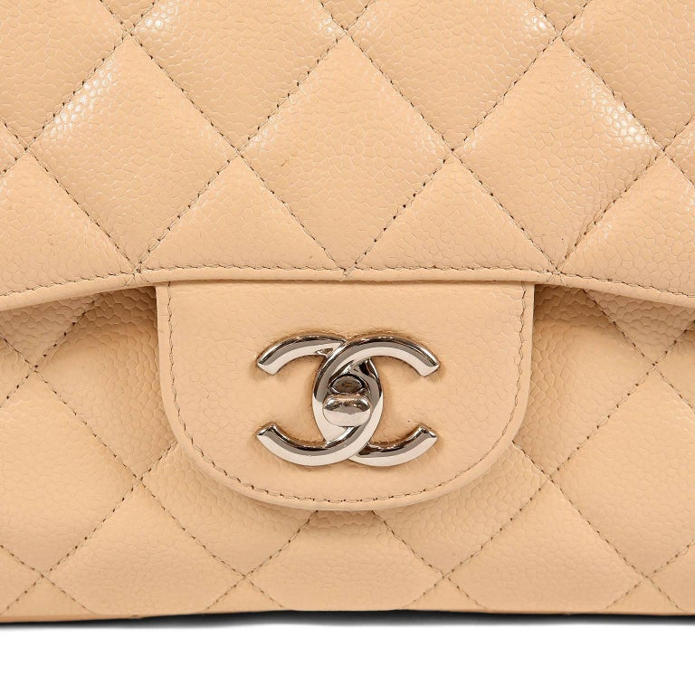 da8c120330e7 Chanel Beige Clair Caviar Leather Jumbo Classic Flap Bag with Silver HW For  Sale 3
