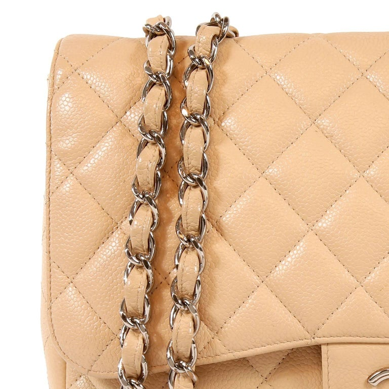 de3cd4bfb13a Chanel Beige Clair Caviar Leather Jumbo Classic Flap Bag with Silver HW For  Sale 4
