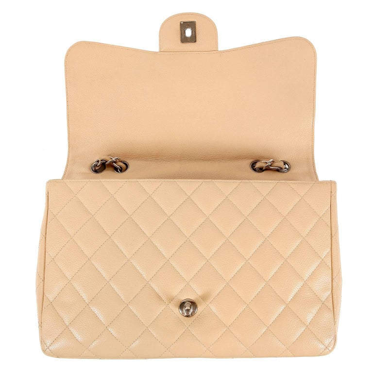 28a3b3a8156e Chanel Beige Clair Caviar Leather Jumbo Classic Flap Bag with Silver HW For  Sale 5