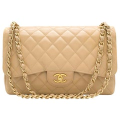Chanel Beige Clair Lambskin Classic Jumbo Double Flap Bag