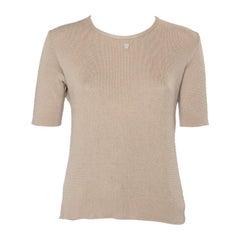 Chanel Beige Cotton Knit Short Sleeve T-Shirt L
