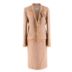 Chanel Beige Embellished Tweed Skirt Suit with Camellia Brooch - Size US 8