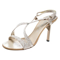 Chanel Beige Fabric CC Logo Slingback Sandals Size 37