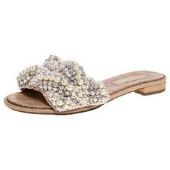 Chanel Beige Faux Pearl Slide Flat Sandals Size 38