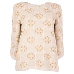 CHANEL beige & gold LUREX FLOWER COSMOPOLITE Sweater 36 XS