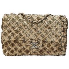 Chanel beige gold sequins 2.55 shoulder bag