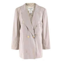 Chanel Beige Grey Lightweight Wool Blazer SIZE 42