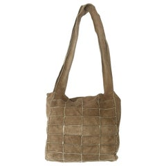 Chanel Beige Grid Patterned Suede Bag