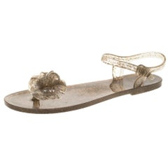 Chanel Beige Jelly Camellia Flower Sandals Size 39