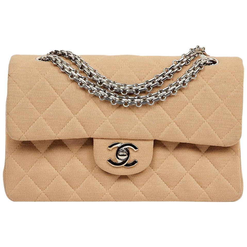 Chanel beige jersey timeless bag