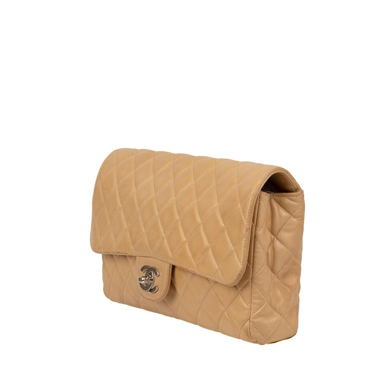 Chanel Beige Lamb Skin Leather Clutch For Sale 2