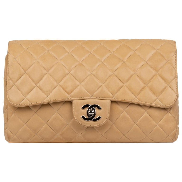 Chanel Beige Lamb Skin Leather Clutch For Sale