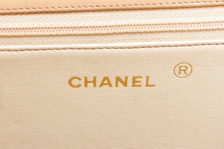 Orange Chanel Beige Lambskin Leather Full Flap Bag For Sale