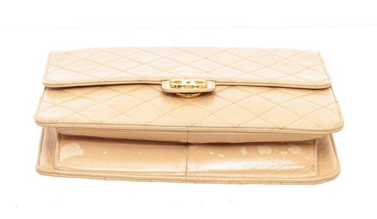 Women's Chanel Beige Lambskin Leather Full Flap Bag For Sale