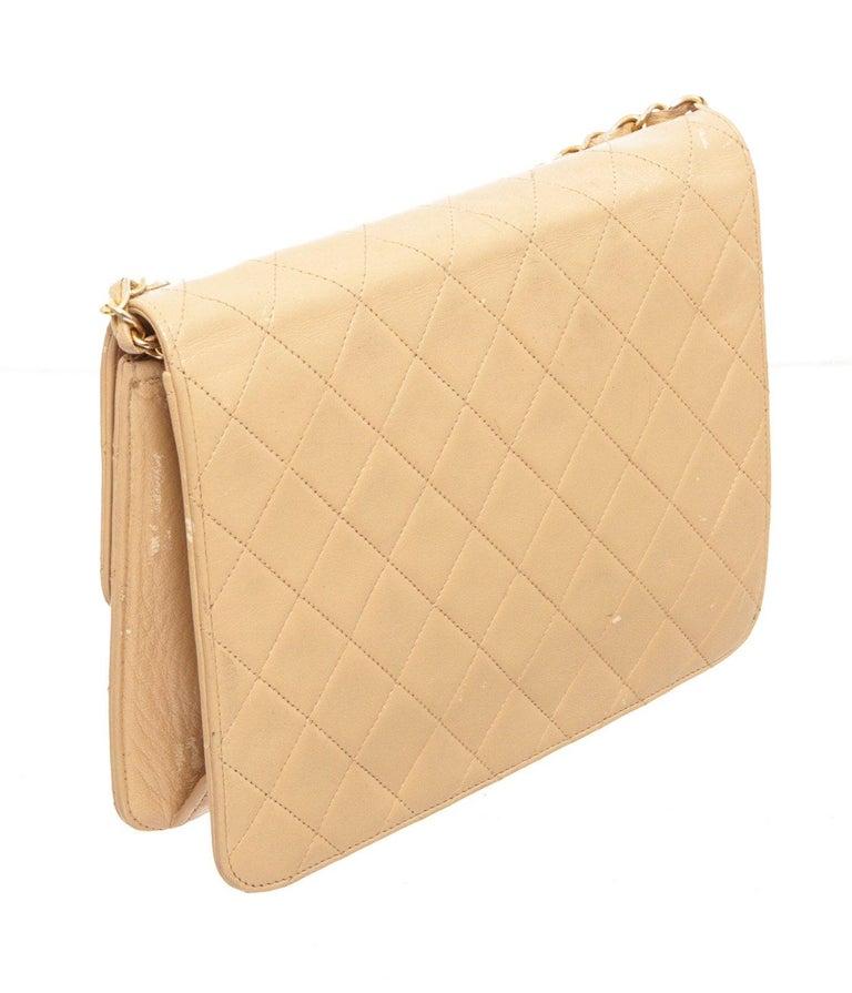 Chanel Beige Lambskin Leather Full Flap Bag For Sale 1