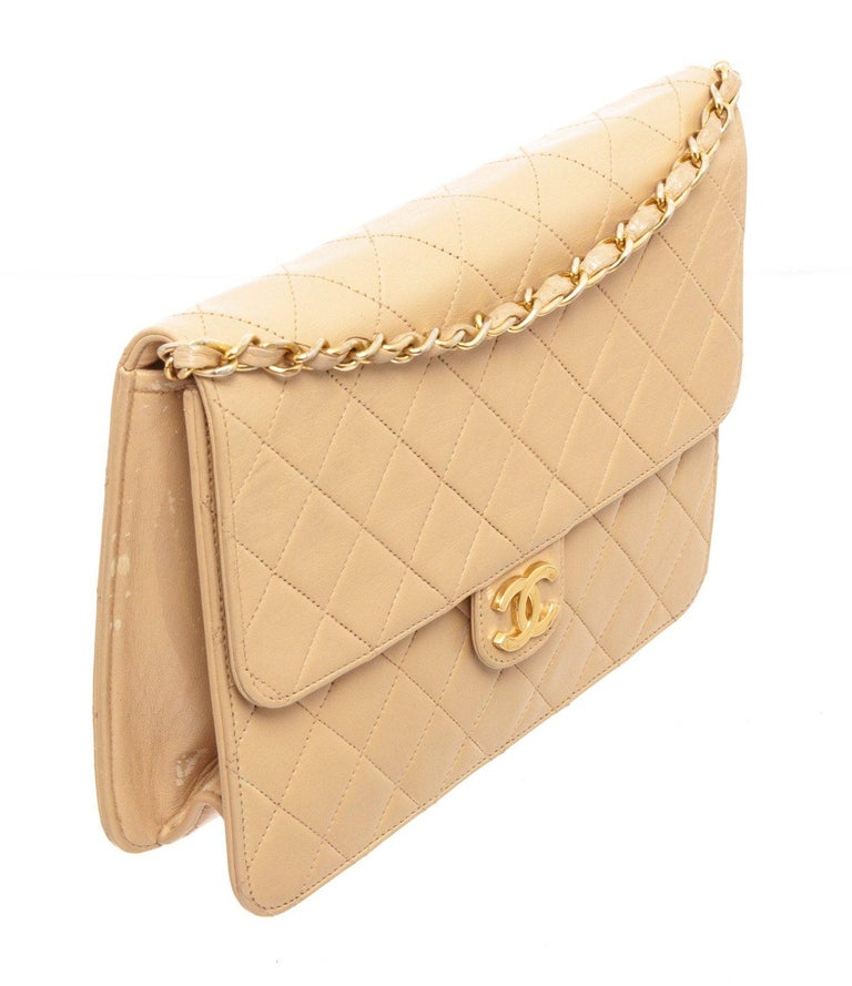 Chanel Beige Lambskin Leather Full Flap Bag For Sale 2