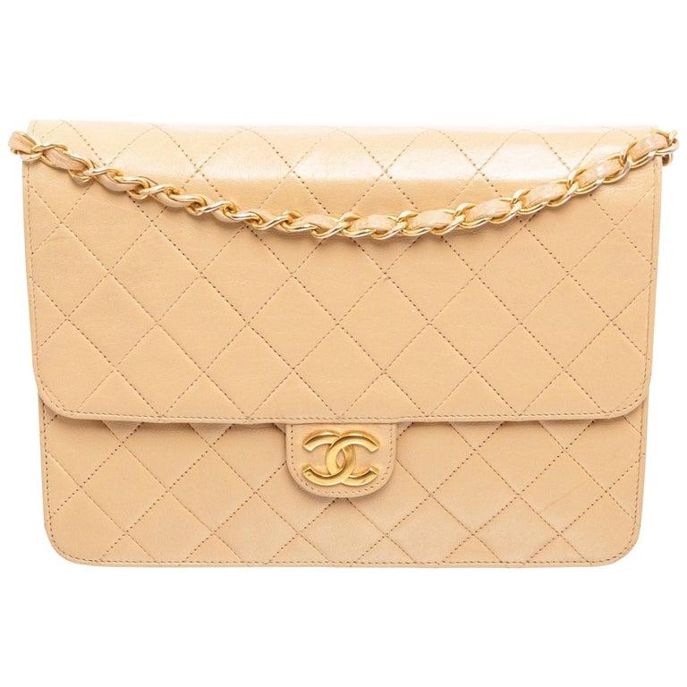 Chanel Beige Lambskin Leather Full Flap Bag For Sale