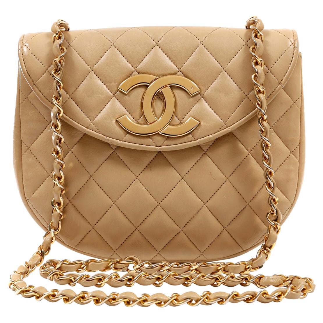 Chanel Beige Lambskin Vintage Crossbody Bag