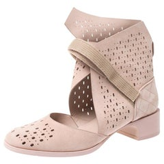 Chanel Beige Laser Cut Suede Velcro Ankle Boots Size 39.5