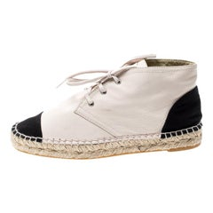 Chanel Beige Leather And Black Canvas Cap Toe CC Espadrille Sneakers Size 38