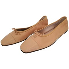 Chanel Beige Leather Ballet flats. NEW. Size 40 1/2