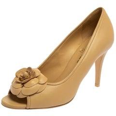 Chanel Beige Leather Camellia CC Open Toe Pumps Size 40
