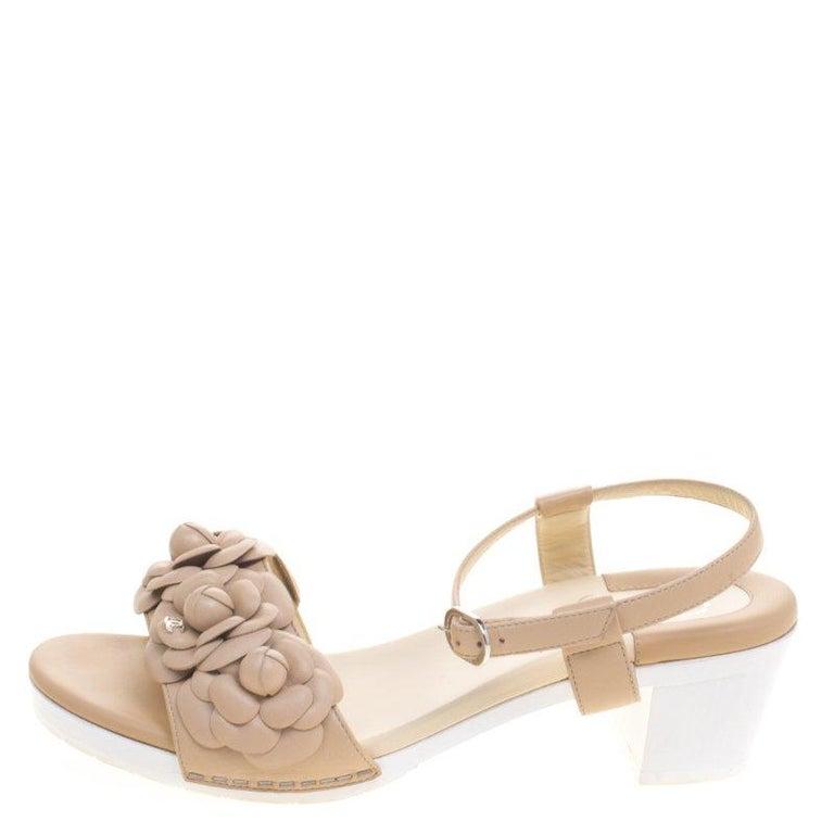 13facb93b185 Chanel Beige Leather Camellia Embellished Ankle Strap Sandals Size 38 For  Sale