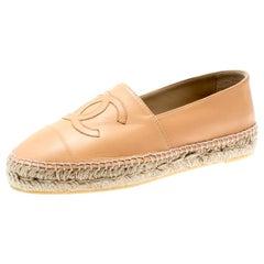 Chanel Beige Leather CC Espadrilles Size 39