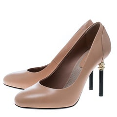 Chanel Beige Leather CC Heel Pumps Size 36.5