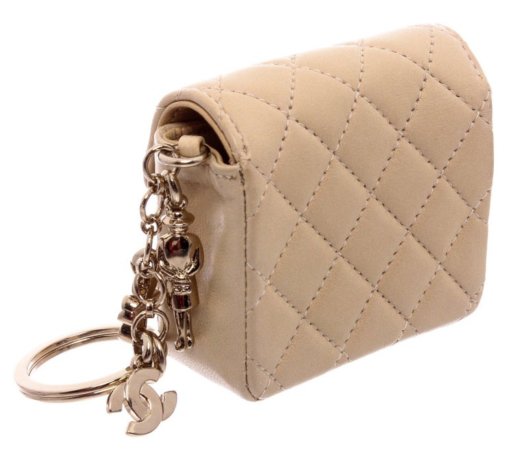 Chanel Beige Leather CC Mademoiselle Mini Flap Charm Key Ring For Sale 6